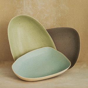 Paule Fattaccioli grand plat en gres fin artisanat design