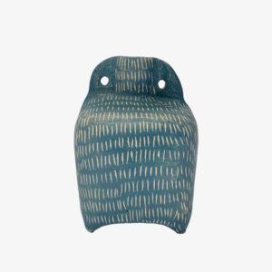 nous paris Vincent Verde Bouteille vase gravé bleu pièce unique