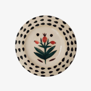 Petite assiette botanique graphique en ceramique elise lefevre