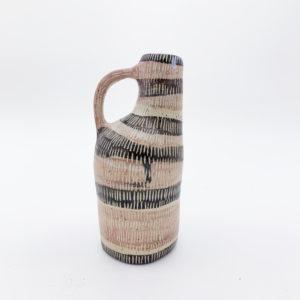 Bouteille vase en grès décor sgraffito Vincent Verde