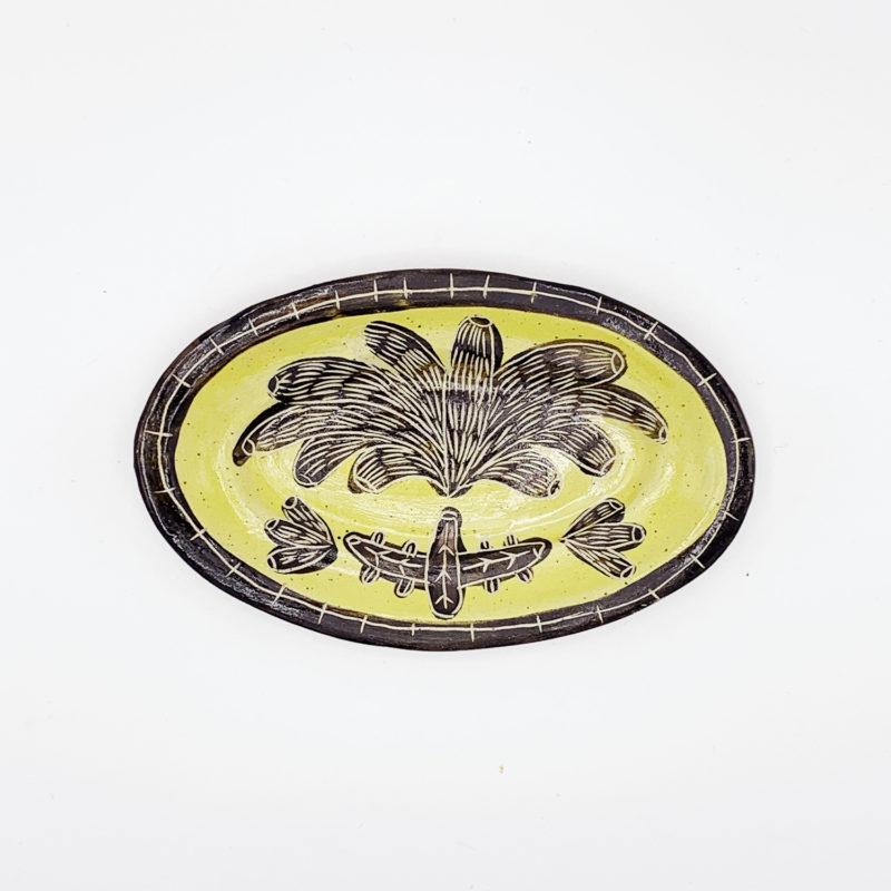 Vincent-verde-petit-plat-oval-jaune-fleur-v1