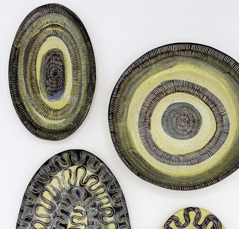 Vincent Verde plat ovale gres jaune